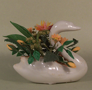 Bird of Paradise and Ferns in a Swan Container - Click Image to Close